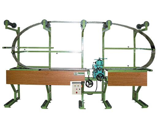 Dressing bench and rolling machine for manual machining of band saw blades on Vollmer machine